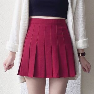 Wine Red Tennis Skirt